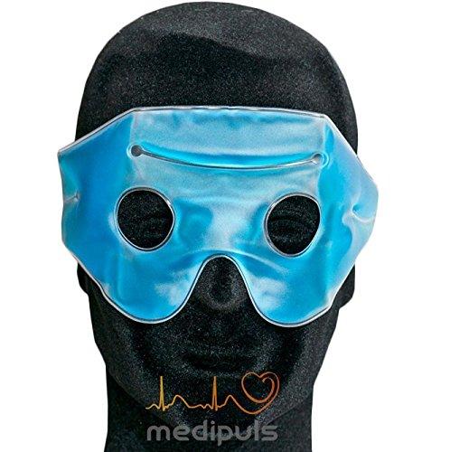 Migränebrille mit Klettband im Etui - Migränemaske mit kälte/ -wärmespeicherndem Gel zur Linderung bei Kopfschmerzen und Erkältungen - Kühlbrille auch zur Wärmetherapie und Kosmetik ideal
