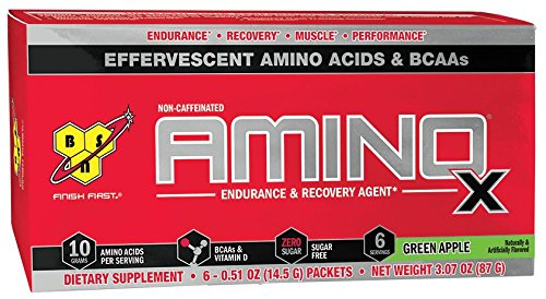 BSN Amino X Endurance & Recovery Powder with 10 Grams of Aminos Per Serving, Travel Size, Flavor: Green Apple, 6 Count