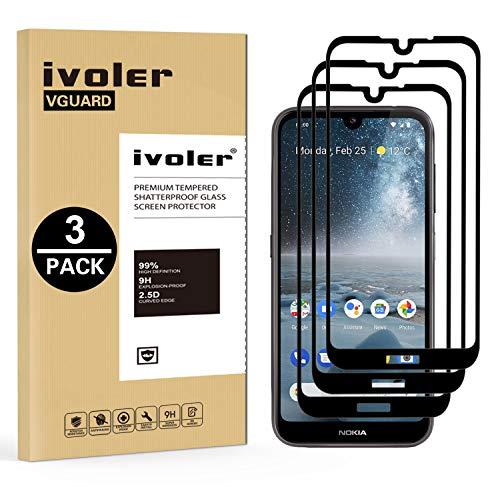 VGUARD [3 Stücke] Panzerglas Schutzfolie für Nokia 4.2, [Volle Bedeckung] Panzerglasfolie Folie Hartglas Gehärtetem Glas DisplayPanzerglas für Nokia 4.2