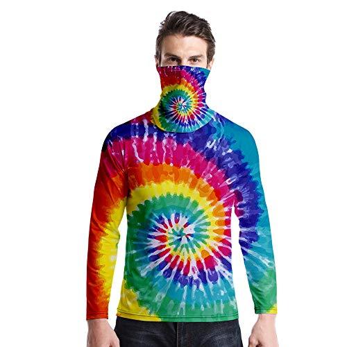 T-Shirt À Manches Longues,Casual Long Sleeve Round Neck Imprimé Tie Dye Rainbow S Tourbillon Unisex T-Shirt Tops Imprimé Chemisier Body Shirt avec Écharpe Hommes Femmes Automne Hiver Pullover SW
