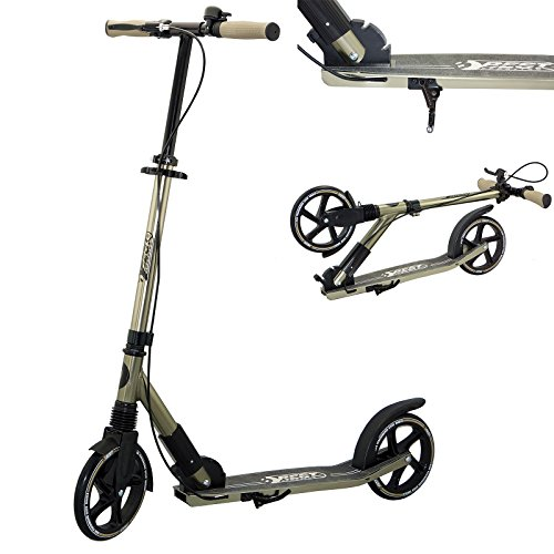 Best Sporting Big Wheel 205 Scooter High Class, City-Roller mit ergonomischem Lenker, Handbremse und Klingel, Tret-Roller in schwarz/gold