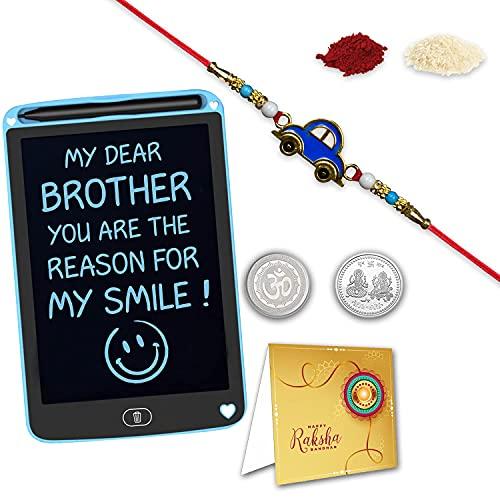 Rakhi avec tablette d'écriture pour enfants (21,6 cm)   Rakhi pour enfants   Cadeau Rakhi pour frère   Voiture de dessin animé Rakhi pour enfants