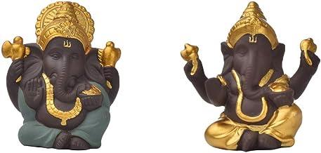 Fenteer 2 Pieces Sandstone Elephant Statue Ganesha Buddha Deity Hindu Style