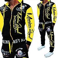 メンズトラックスーツフルジップジョギングスーツフード付きスポーツスーツパーカースポーツパンツ yellow-XL