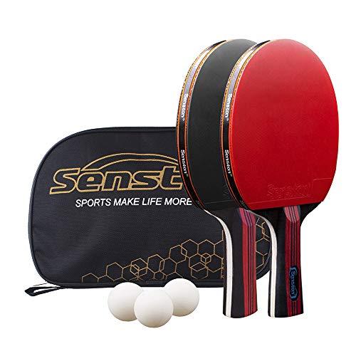 Senston 卓球ラケットセット 卓球ラケット 2本、ポータブルバッグ1個 、初心者 中高級プレイヤーのトレーニング、試合