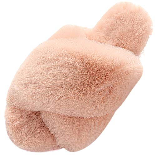 House Slippers for Women, Cross Band Cute Anti-Skid Memory Foam Slip On Fuzzy Slides for Indoor Outdoor Pink 8-9