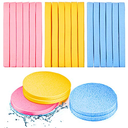 120 Pieces Compressed Facial Sponge Face Cleansing Sponge Makeup Removal Sponge Pad Exfoliating Wash Round Face Sponge (Pink, Yellow, Blue)