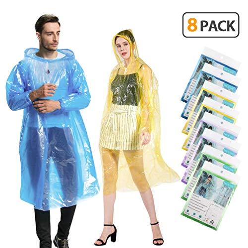 KMMIN Disposable Ponchos, Emergency Rain Ponchos for Adults Reusable Running Waterproof Rain Ponchos Plastic Clear Raincoat, Portable Disposable Rain Ponchos for Men Women (8 Pack)