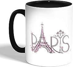 Paris - Eiffel Tower Printed Coffee Mug, Black (Ceramic)