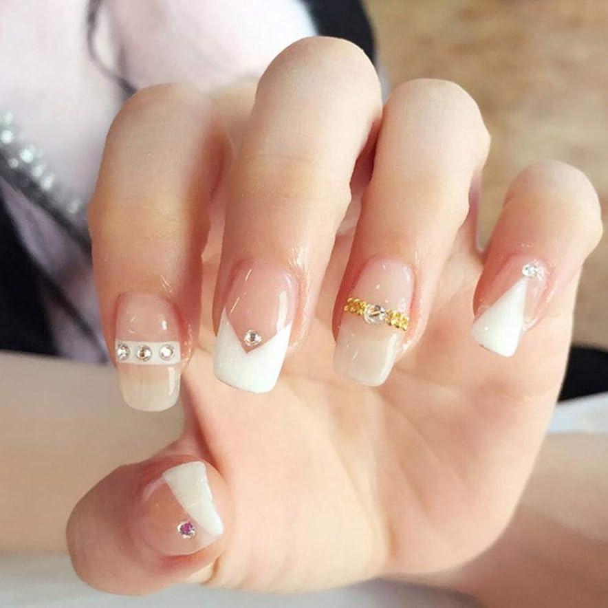 ちょうつがいグリーンランドタイムリーなXUTXZKA 花嫁のネイルアートステッカーゴールドダイヤモンドホワイトステッチカラーフルカバーネイルフェイクネイル