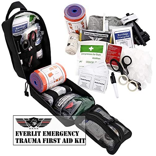 "Everlit Emergency Trauma Kit with Aluminum Tourniquet 36"" Splint, Military Combat Tactical IFAK for First Aid Response, Critical Wounds, Gun Shots, Blow Out, Severe Bleeding Control and More (Black) 5"