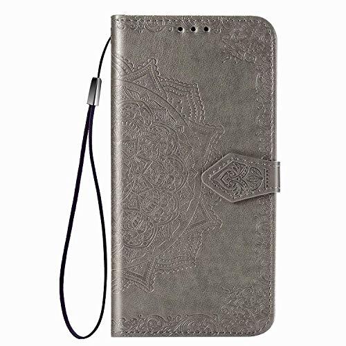 Larook Funda para iPhone 8Plus, diseño de mariposas, estilo cartera con función atril y carcasa magnética de poliuretano para iPhone 8Plus, color gris