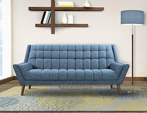 Armen Living Cobra Sofa in Blue Linen and Walnut Wood Finish