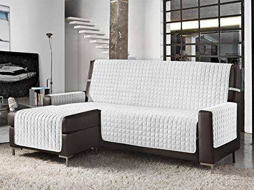 Banzaii Funda de Sofá Cubre Chaise Longue Anti-Sucio, Antimanchas y Impermeable y antipelo Blanco 3 Plazas Chaise Derecho