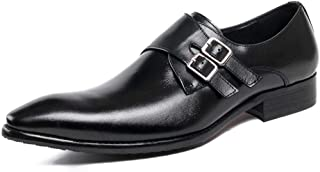 Buckle Dress Shoes, Men's Business Leather Shoes Urban Walking Work Banquet Formal Footwear,Black- 37