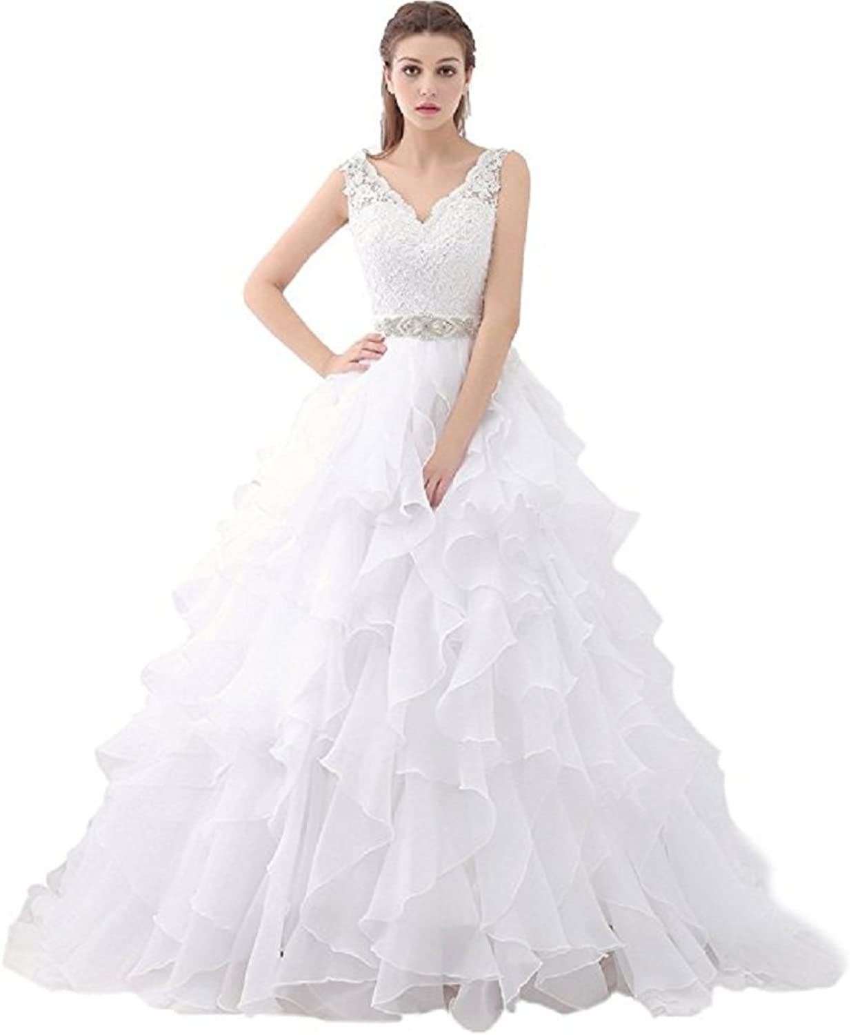 Sweetheart V Neck Ruffles Organza Wedding Dresses for Bride Gown
