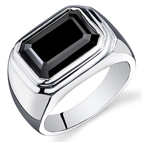 Mens 7.00 Carats Black Onyx Octagon Ring Sterling Silver Size 13