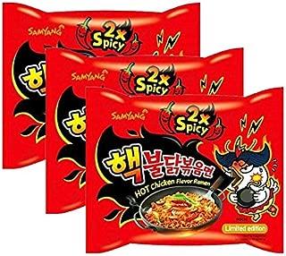 [ 3 Packs ] Samyang 2X Extra Spicy Hot Chicken Flavor Ramen KOREAN SPICY NOODLE (140g Each)