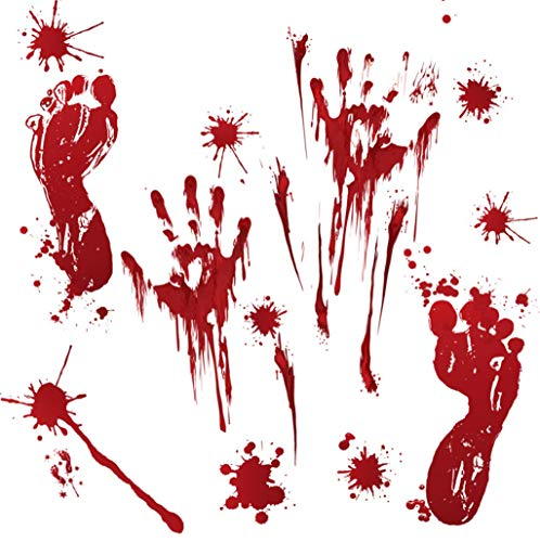 Behang FANGQIAO SHOP Halloween Muurstickers, Deur Stickerswindow Glas Sierspumpkin Bloedhand En Voetafdruk Stickers