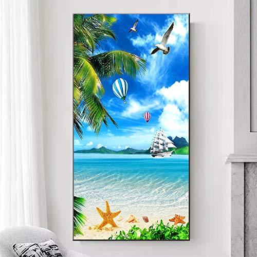 Strandinsel Landschaft Leinwand Wandbild Kunstdruck Natur Poster nordische Dekoration Bild,Rahmenlose Malerei,45x82cm