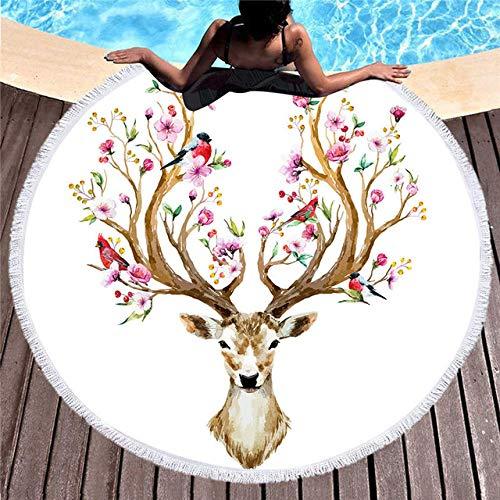 BSSDG Toalla Playa Toalla de Playa de Microfibra con Estampado de Elefante para Manta de Yoga para Adultos, Manta de Borla, flamencos Grandes, Toalla Redonda, Tapiz de 150 cm, decoración para el Hog