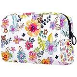 Bolso de tocador púrpura del viaje del bolso del maquillaje de la hierba de la flor, nylon resistente al agua