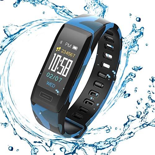 LTLJX Herren Fitness Armband, Damen Sportuhr IP67 Wasserdicht mit Pulsmesser Farbbildschirm Aktivitätstracker Schrittzähler Intelligente Uhr 0.96'' für iOS Android,Blau