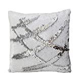 Fengheshun Reversible Sequins Pillowcase Mermaid Pillow Covers 4040 cm Two Color Changing (White+Sliver), Great Gifts for Kids