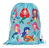HECKBO Mochila niñas con dibujo de sirena - impresa por ambas caras con dibujos coloridos de...