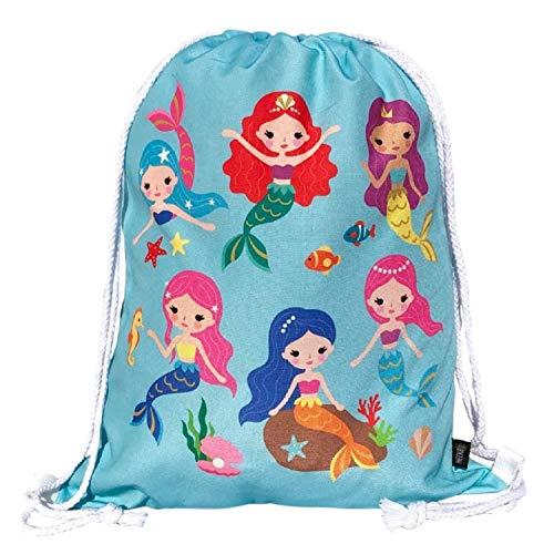 HECKBO Mochila niñas con dibujo de sirena - impresa por ambas caras con dibujos coloridos de sirenas - 40x32 cm - se puede lavar a máquina - apta para hacer deporte, para el colegio (Turquesa)