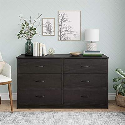 Mainstays Drawer Dresser, (6-Drawer, Black Oak + Free Bundle)