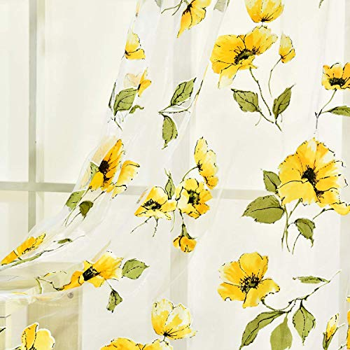 BROSHAN Sheer Curtains Yellow Flowers 1 Set of 2 Panels, Spring Beautiful Flower Voile Tulle Sheer Print Curtain Panels for Bedroom Living Room Window Treatments
