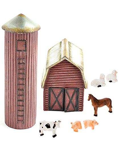 Assembled by PaBu GuLi DIY - Miniature Garden Kit - Farm Set with Barn, Silo and 6 Piece Mini Farm Animals for Gnome, Troll or Fairy Garden