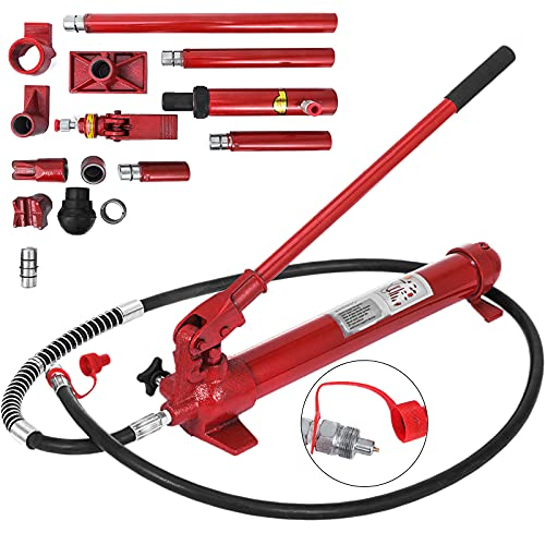Mophorn 10 Ton Porta Power Kit 2M (78.7 inch) Oil Hose Hydraulic Car Jack Ram Autobody Frame Repair Power Tools for Loadhandler Truck Bed Unloader Farm and Hydraulic Equipment Construction