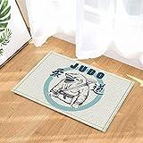 Etiqueta del vector para JuDo Decor Shark Practicar las alfombras de baño JuDo Alfombra antideslizante Entradas al piso Puerta exterior para interiores Alfombra de baño para niños Accesorios 60X40CM