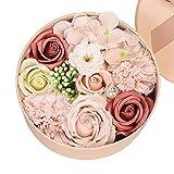 Gobesty Rosen Geschenkbox, Rosen Box Herz, Seife Rose Blume, Ewige Rose Geschenk mit Geschenkkarte...