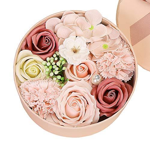 Gobesty Rosen Geschenkbox, Rosen Box Herz, Seife Rose Blume, Ewige Rose Geschenk mit Geschenkkarte für Valentinstag, Hochzeitsdekoration, Haus Dekoration, Kreative Geburtstagsgeschenke