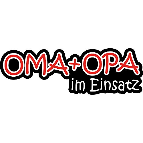 wall-art-design Fun Aufkleber Oma + Opa im Einsatz 18x6 cm selbstklebend, glänzend für Auto, Motorrad, Fahrrad, Boot oder Caravan