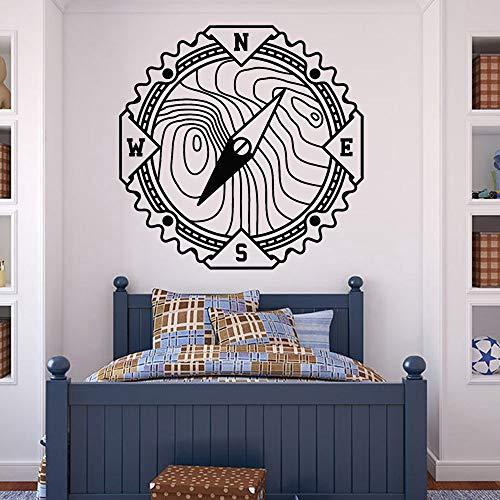 JXWH Bussola Vinile Adesivo Soggiorno World Nautical Adventure Adesivo murale Camera da letto Cameretta per Ragazzi Decor Art Murale 36x36cm