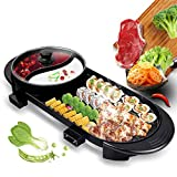 LEILEI Grill Indoor Hot Pot,Multifunctional Teppanyaki Grill,Nonstick Electric Griddle,Divider Shabu Pot,Smokeless BBQ Dual Temperature Contral For Famaliy & Part Black 70x17cm(28x7inch)