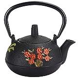 Hervidor de té de hierro fundido, tetera japonesa de Tetsubin, tetera de hierro fundido, hervidor de té de hierro fundido, estufa, flor, decoración de regalo de bambú, 0,3 l