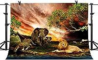 HDアフリカ大草原動物サファリ背景ビニール7x5ftジャングルライオン象ヒョウサイ写真背景子供の壁画LYPH773