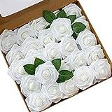 DQTYE 8cm 50pcs Espuma de PE Cabezas de Rosas Flores Artificiales Real Looking DIY para Ramos de Novia Centros de Mesa con Caja - Blanco