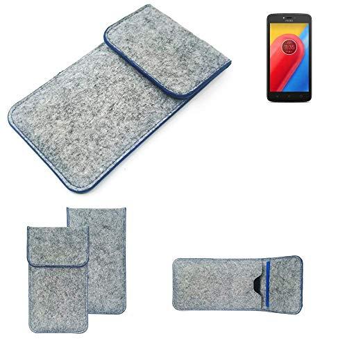 K-S-Trade Handy Schutz Hülle Für Lenovo Moto C LTE Schutzhülle Handyhülle Filztasche Pouch Tasche Hülle Sleeve Filzhülle Hellgrau, Blauer Rand