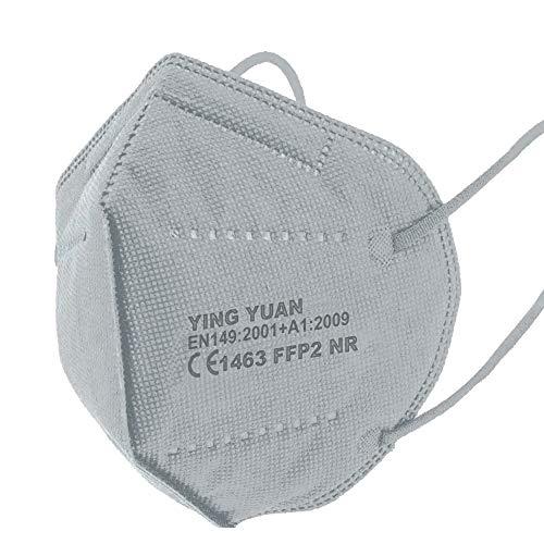 20x FFP2 Schutz Maske Mundschutz Atemschutzmaske Zertifiziert CE1463 EN149:2001+A1:2009 - Atmungsaktives Falten mit Nasenklemme Grau