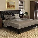 Amolife Full Size Bed Frame,Upholstered Modern Tufted Platform Bed with Adjustable Headboard,Mattress Foundation,Wood Slat Support Black