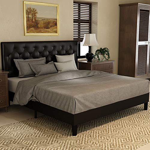 Amolife Queen Size Bed Frame Platform Bed Mattress Foundation Wood Slat Support Upholstered Button Tufted Diamond Stitch with Headboard, Black
