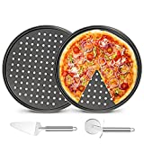 2 Pack Pizza Pan Round Pizza board + Pizza Cutter + Pizza Slicer 12.5' Carbon Steel Pizza Baking Pan Non-Stick Cake Pizza Crisper Server Tray Stand for Home Kitchen Oven Restaurant Pizza Bakeware