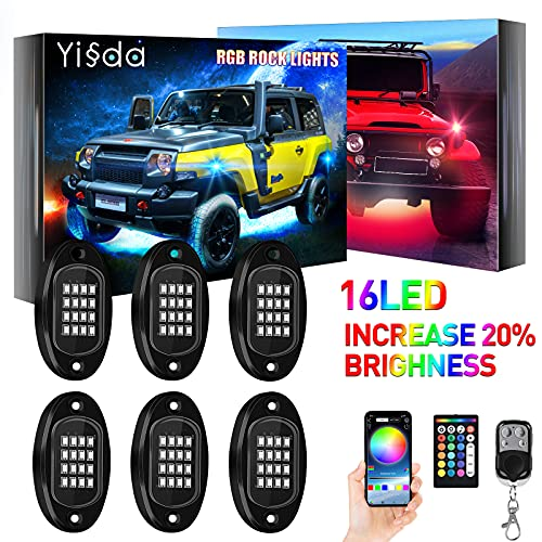 YISSDA RGB LED Rock Lights, 96LEDs APP RF Remote with Music Timing Mode, Exterior Car Underglow Lights Kit, IP68 Waterproof Off Road Neon Light for Jeep UTV with 59inch Extension, 6 Pods