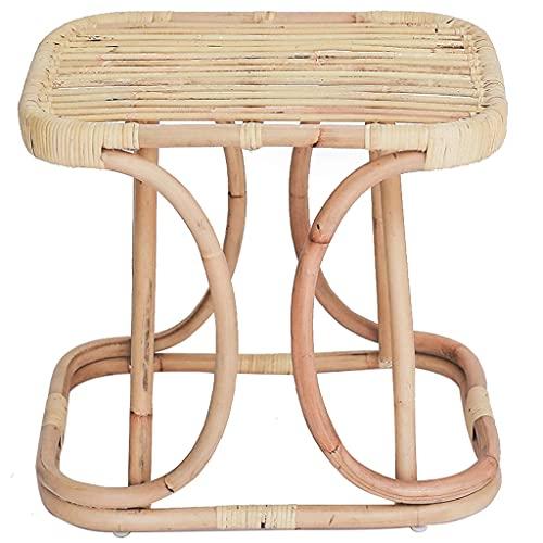 Beistelltisch Für Wohnzimmer, Quadratischer Kleiner Couchtisch Aus Rattangewebe Für Schlafzimmer, Japanisches Picknick Auf Der Terrasse Snack-Beistelltisch ( Color : Brown , Size : 55*45*50cm )